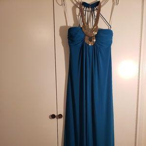 Camille La Vie Formal Teal Halter Dress